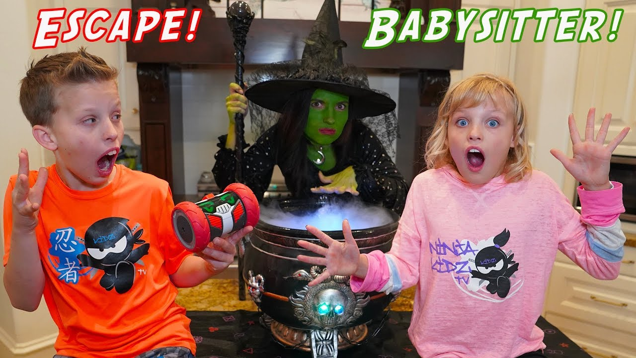 Escape the Witch Babysitter! Turbo Bot Team-up with Ninja Kidz Twins!
