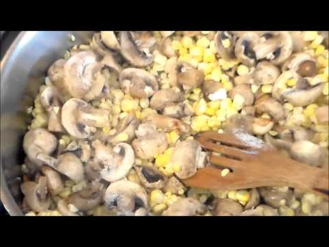 corn and mushroom with roasted garlic