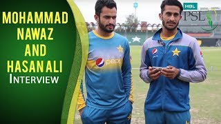 Mohammad Nawaz and Hasan Ali discussing the memorable last ball of Zalmi vs. Gladiators