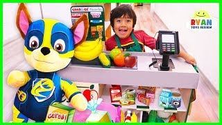 Download Ryan and Mighty Pups Paw Patrol Toys Pretend Play Grocery Store! Video