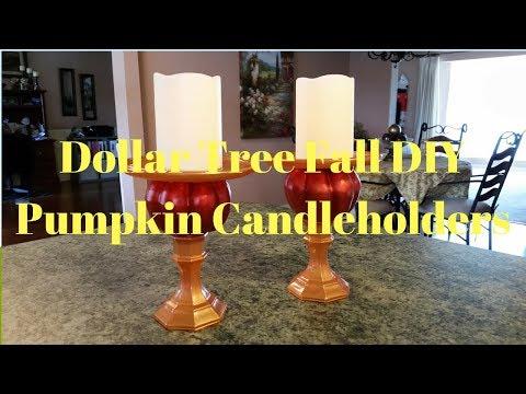 Dollar Tree Fall DIY Pumpkin Candleholders