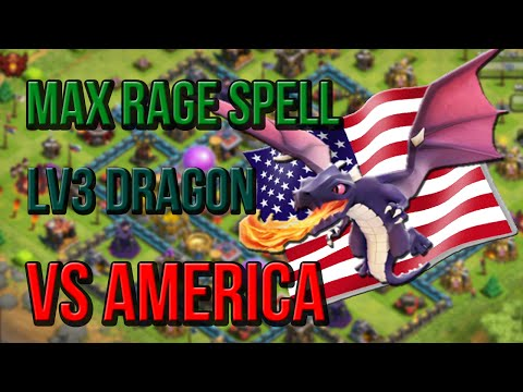 Clash of Clans - Max Rage Spells and Level 3 Dragons vs America!