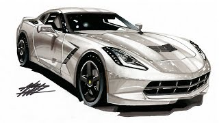 Realistic Car Drawing - Aston Martin DB11 - Time Lapse