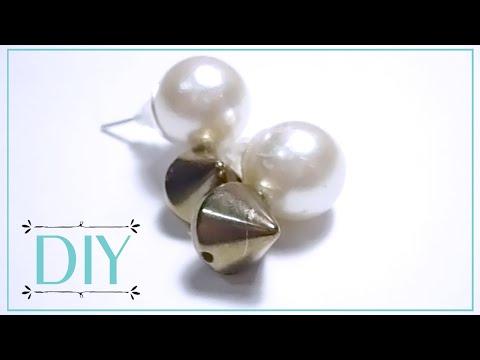 DIY - Pearl and Stud Earrings [SUPER EASY]