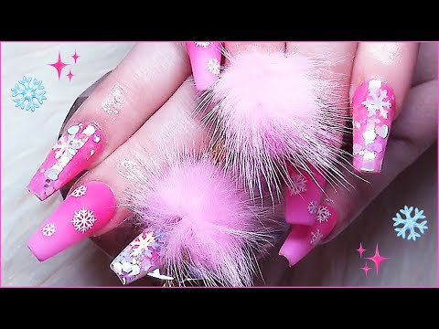 HOW TO: Pink Snowflake Acrylic Nails Full Set