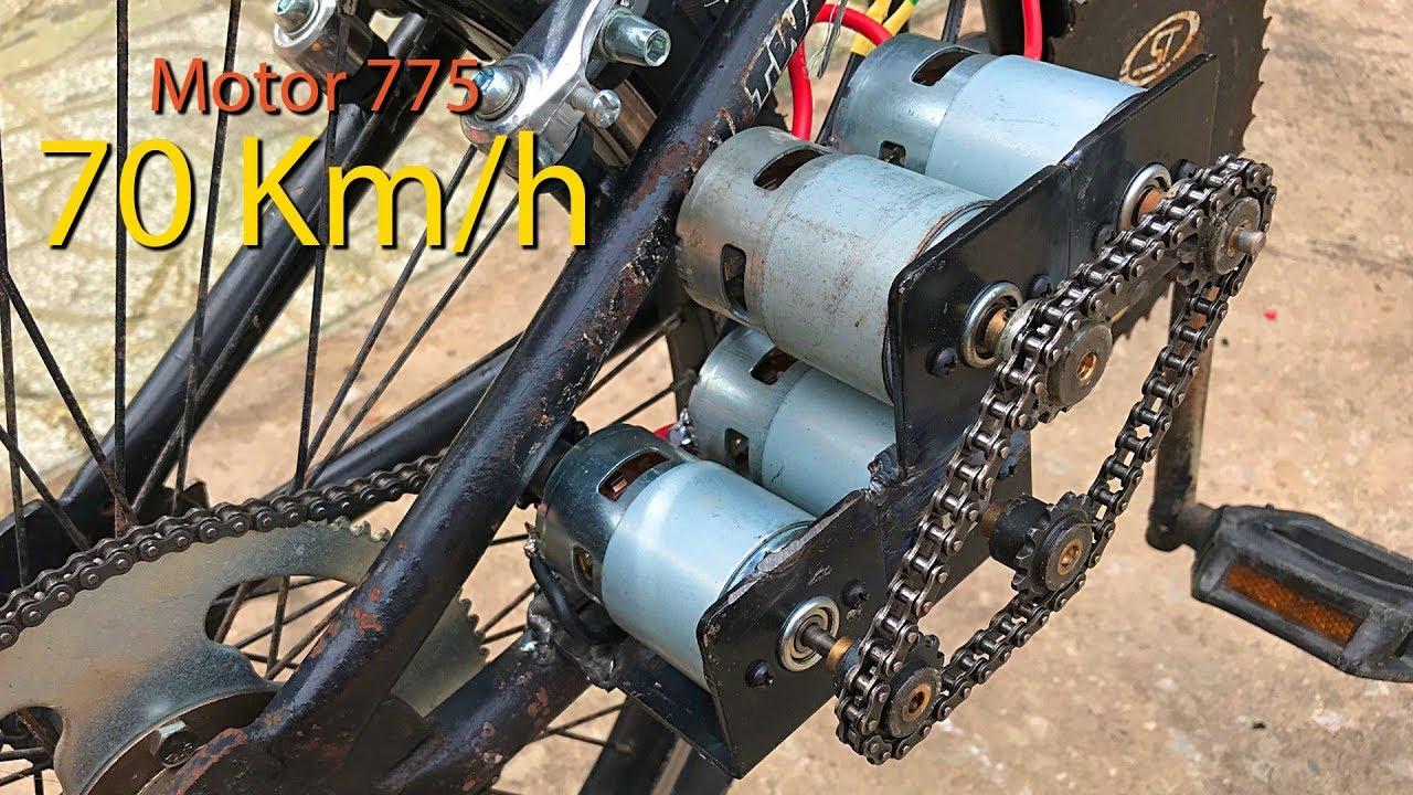 Chế xe đạp điện sử dụng 4 Motor 775 tốc độ 70km/h   DIY Make Electric Bike using motor