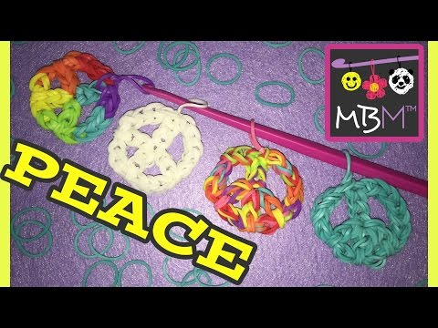 Rainbow Loom Band Peace Sign Charm | Using Just a Hook