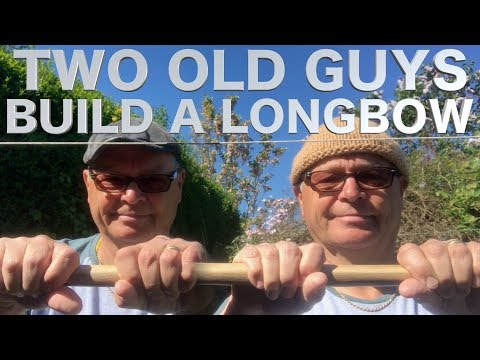 Two Old Guys Make a Hazel Longbow in the Woods. Bow Making in the Outdoors.