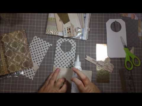 Making a wine bottle gift  tag out of a festive scrapbook paper perfect present topper