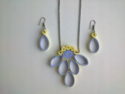 Quilling  Earring designs: How to make Quilling Earrings & Quilling necklace