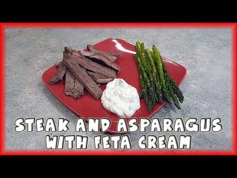 Steak and Asparagus with Feta Cream