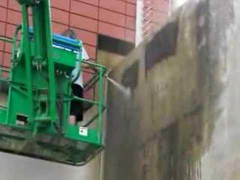 SODA BLAST - CONCRETE WALL CLEANING