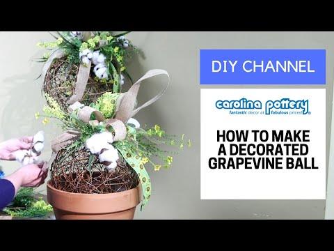 DIY Decorated Grapevine Ball - Carolina Pottery