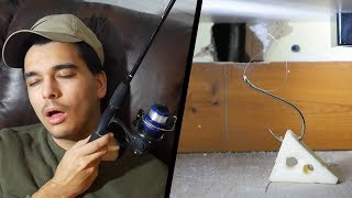 Trying to Catch a Rat with a FISHING ROD! 24 Hour Overnight Mouse CHALLENGE!