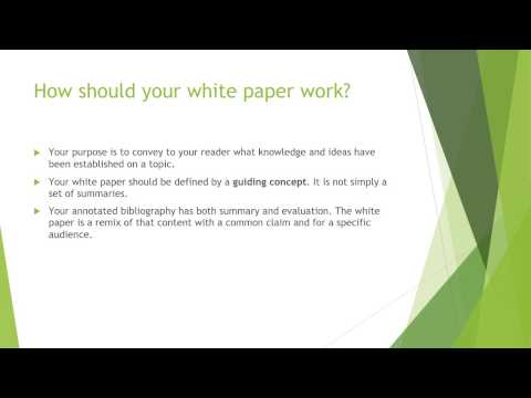 Writing the White Paper (Video Lecture)