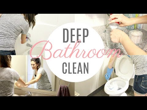 Bathroom Deep Cleaning Routine! ALL NATURAL + DIY CLEANING PRODUCTS! | Justine Marie