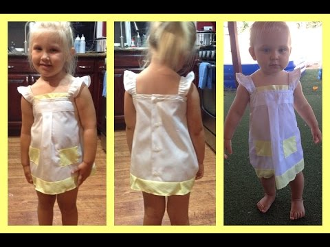 Up-Cycled Mens Dress Shirt into Girls Dress w straps | Video Tutorial