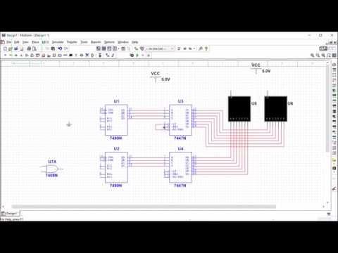 Basic stopwatch circuit using MULTISIM