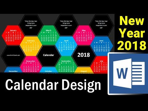 How to Design New Year Calendar 2018 in MS Word - Microsoft Word Tutorial