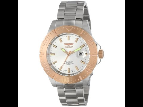Invicta 14049 Men's Pro Diver Rose Gold Bezel Silver Dial Steel Bracelet Dive Watch Review Video