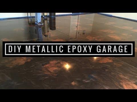 How to Install Amazing Metallic Epoxy Floor!  Coffee, Brass and Black