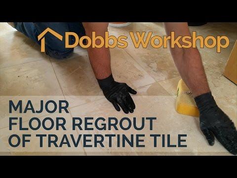 Major Floor Regrout of Travertine Tile