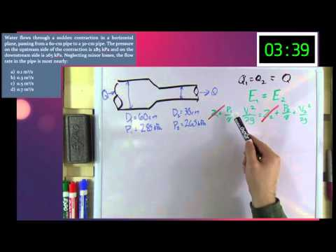 Water Resources - Flow Rate through a Pipe Contraction