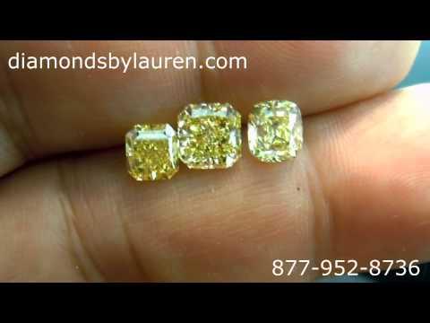 Comparing a Fancy Vivid Yellow Diamond to Fancy Intense Yellow, and Fancy Yellow Diamonds