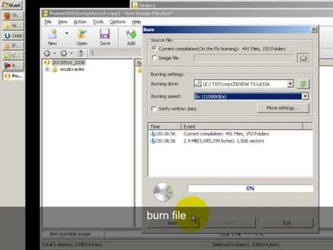 how to burn file to cd/dvd using power iso on fly