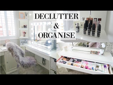 DECLUTTER & ORGANISE MY MAKEUP AND DRESSING TABLE 2018 | ORGANIZE WITH ME | MRS SMITH & CO.