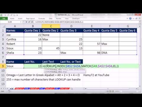 Excel Magic Trick 938: Lookup Row Associated With Employee And Get Last In That Row