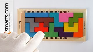 Super Challenging Wooden Logic Puzzle Game Tetris Style (for school kids and adults and up)