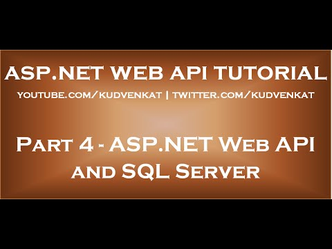 ASP NET Web API and SQL Server