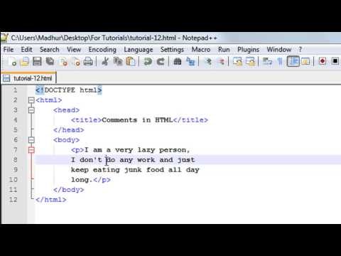 HTML Tutorial - 12: Comments in HTML