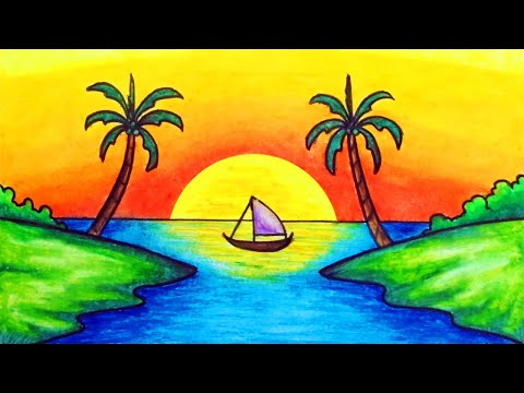 How to Draw Easy Scenery   Drawing Simple Sunset Scenery Step by Step with Oil Pastels