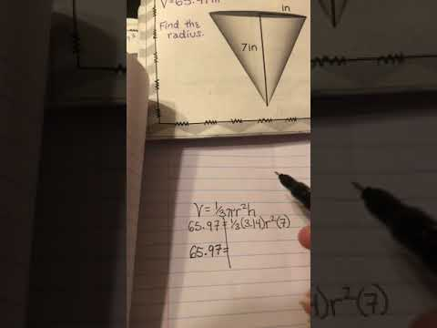 Finding the radius of a cone given the volume & height