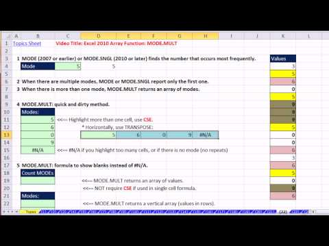 Ctrl + Shift + Enter: Excel Array Formulas 22: Excel 2010 Array Function: MODE.MULT