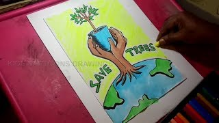 How To Draw Save Earth Poster Step By Step Save Trees Save