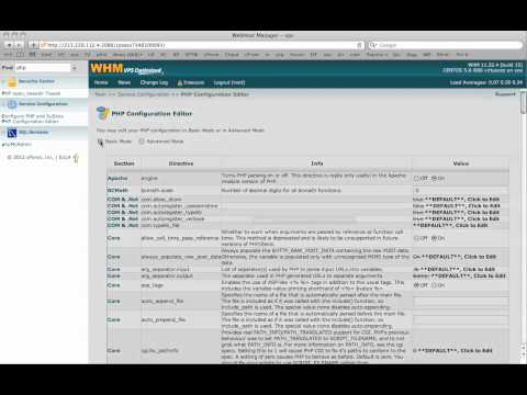 How to edit the php.ini file with WHM