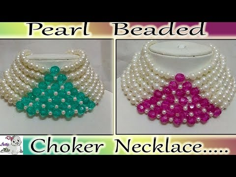 #75 How to make Pearl Beaded Choker Necklace || Diy || Jewellery Making