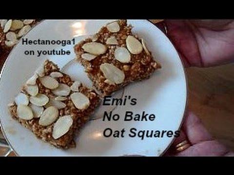 NO bake 3 ingredient oat squares recipe, peanut butter, brown sugar, oats,