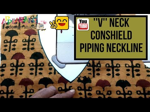 How to Sew a V Neckline and conshield piping neckline