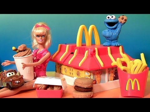 Play Doh McDonald's Restaurant Playset With Cookie Monster & Barbie DIY Burgers Fries McNuggets