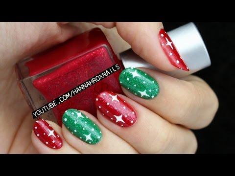 Easy Starry Christmas Nail Art
