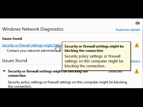 Security or firewall settings might be blocking the connection Windows 10 Network Diagnostics