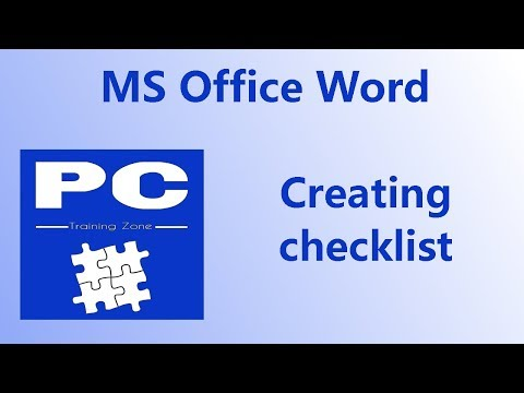 MS Office Word  - Creating Checklist