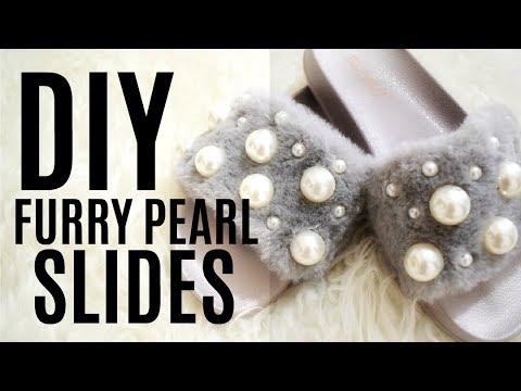 DIY FURRY PEARL SLIDES