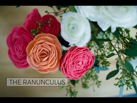 Felt Flower Tutorial: Ranunculus - A How-To DIY Video - How to Make a Felt Flower