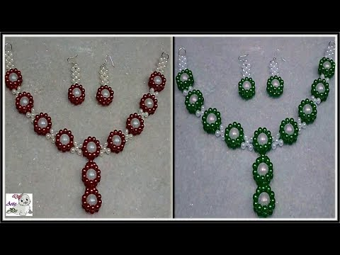 #188 How To Make Pearl Beaded Necklace & Earring set    Diy    Jewellery Making    Art