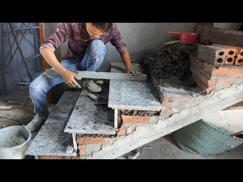 Amazing Construction Stone Stairs Fastest Simple - How To Install Granite  Largest Stone